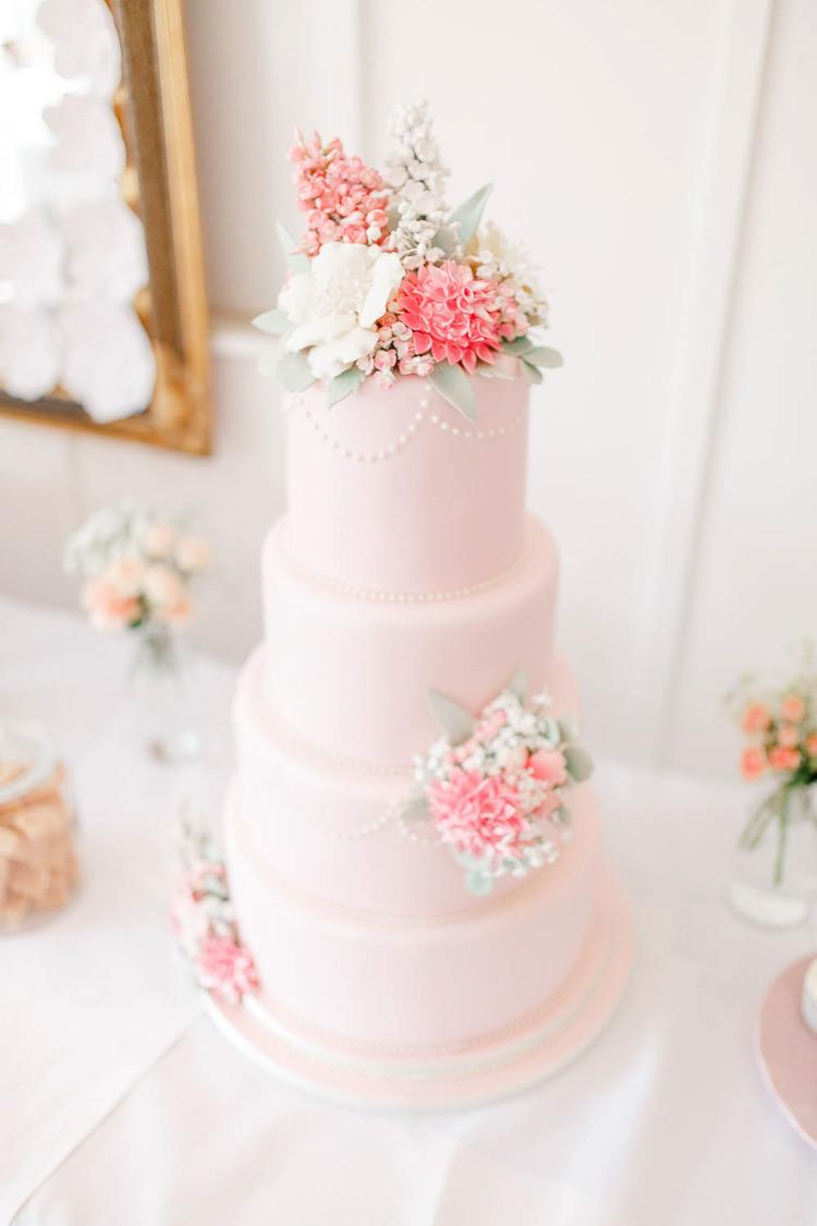 Floral Iced Cake Light Airy Pretty Pastel Pink Wedding http://whitestagweddings.com/