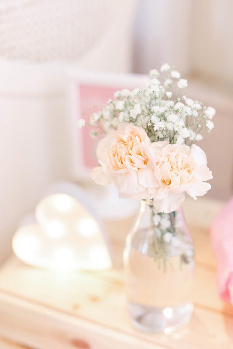 Bottle Flowers Light Airy Pretty Pastel Pink Wedding http://whitestagweddings.com/