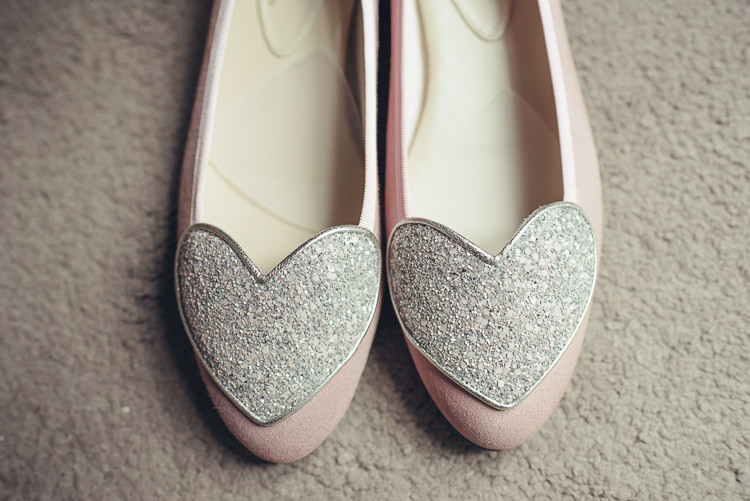 French Sole Cute Flat Bride Shoes Blush Sparkly Silver Heart Pink Quirky | Greenery Burgundy City Autumn Wedding http://lisahowardphotography.co.uk/