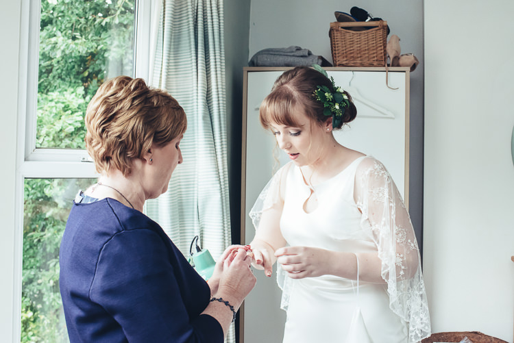 Bride Mother Morning Prep Caped Silk Dress Ring Foliage Relaxed Updo | Greenery Burgundy City Autumn Wedding http://lisahowardphotography.co.uk/