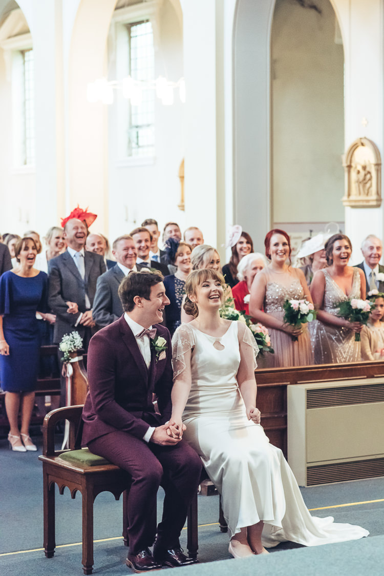 Bride Groom Ceremony Readings Hymns Laughter Bright Airy Bridesmaids Bouquet | Greenery Burgundy City Autumn Wedding http://lisahowardphotography.co.uk/