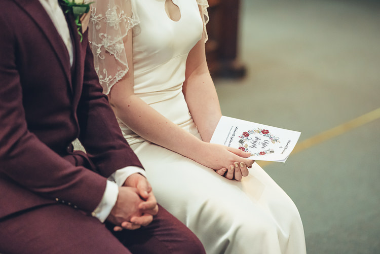 Bride Groom Hands Ceremony Order of Service Burgundy Suit Caped Silk Dress Keyhole | Greenery Burgundy City Autumn Wedding http://lisahowardphotography.co.uk/