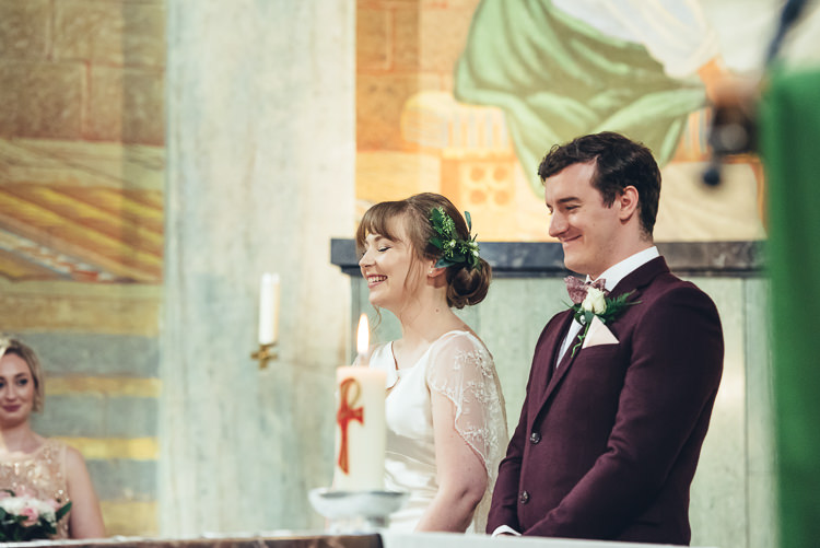 Bride Groom Ceremony Readings Hymns Laughter Bright Airy Foliage Updo | Greenery Burgundy City Autumn Wedding http://lisahowardphotography.co.uk/