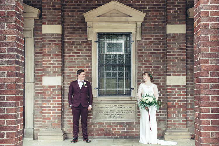 Bride Groom Photos After Ceremony Romantic Industrial Brick Building Wild Foliage Bouquet | Greenery Burgundy City Autumn Wedding http://lisahowardphotography.co.uk/