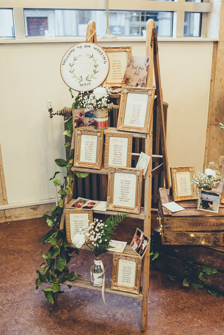 Homemade Decor Rustic Ladder Gold Frame Table Plan Childhood Photos Personal | Greenery Burgundy City Autumn Wedding http://lisahowardphotography.co.uk/