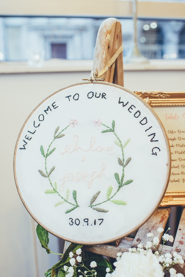 Hand Embroidered Welcome Sign Rustic DIY Foliage | Greenery Burgundy City Autumn Wedding http://lisahowardphotography.co.uk/
