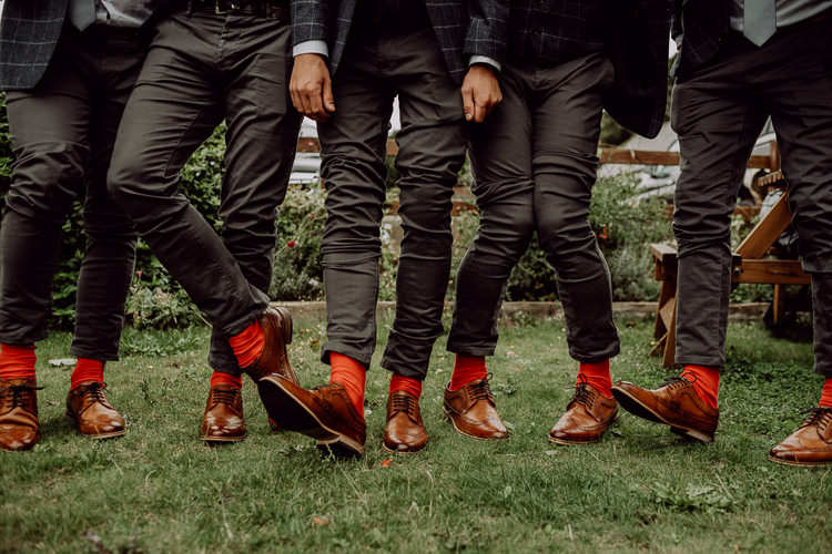 Tan Shoes Red Socks Groom Groomsmen Stylish Rainy Festival Wedding http://albatrossandmariner.co.uk/