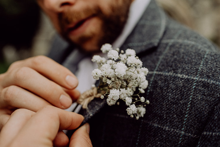 Buttonhole Groom Gypsophila Stylish Rainy Festival Wedding http://albatrossandmariner.co.uk/