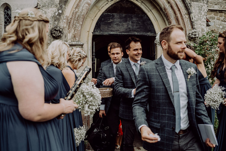 Groom Groomsmen Grey Check Suits Stylish Rainy Festival Wedding http://albatrossandmariner.co.uk/