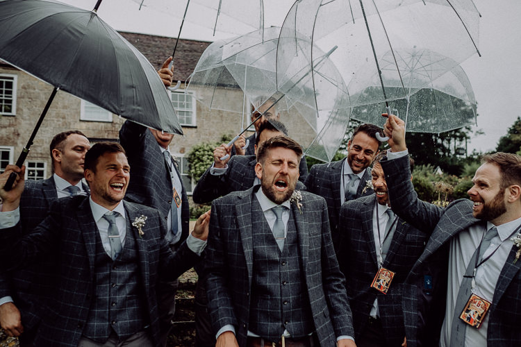 Groom Groomsmen Suit Check Grey Suits Stylish Rainy Festival Wedding http://albatrossandmariner.co.uk/