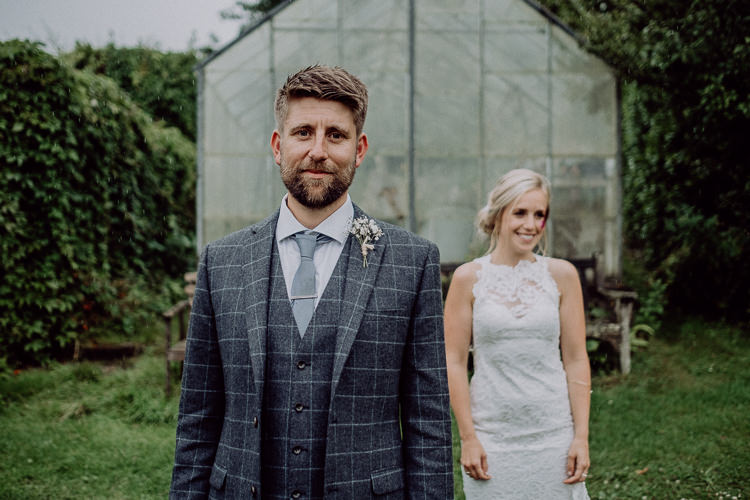 Grey Check Suit Groom Stylish Rainy Festival Wedding http://albatrossandmariner.co.uk/