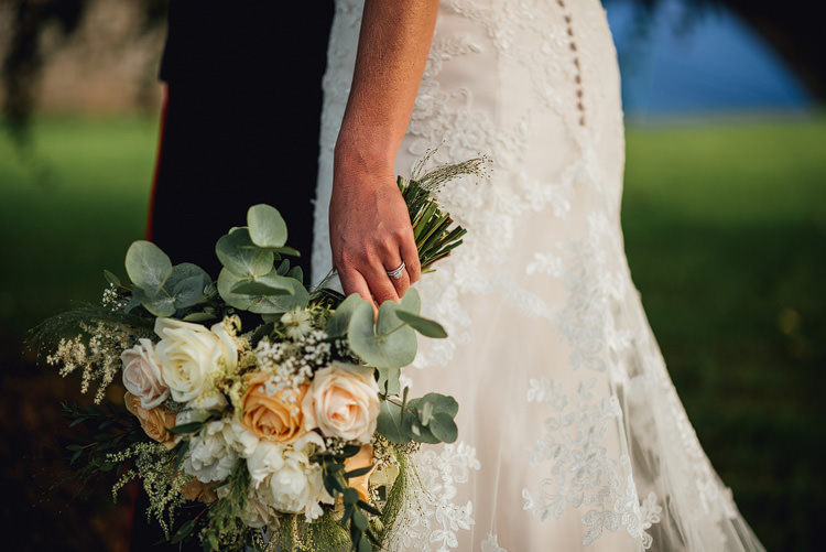 Bride Bridal Bouquet Eucalyptus Peach Rose White Outdoor Summer Rustic Barn Wedding https://www.chebirchhayesphotography.com/