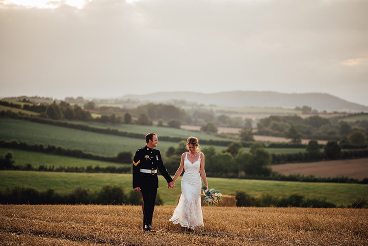 Bride Bridal Fishtail Train Strappy Veil Military Groom Outdoor Summer Rustic Barn Wedding https://www.chebirchhayesphotography.com/