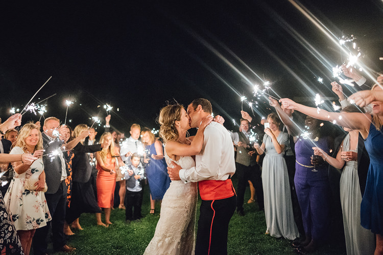 Bride Bridal Fishtail Train Strappy Military Groom Sparkler Send Off Outdoor Summer Rustic Barn Wedding https://www.chebirchhayesphotography.com/