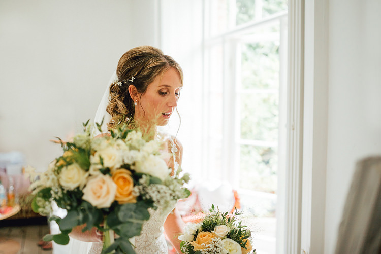 Bride Bridal Bouquet Peach Rose White Greenery Hair Piece Up Do Veil Outdoor Summer Rustic Barn Wedding https://www.chebirchhayesphotography.com/