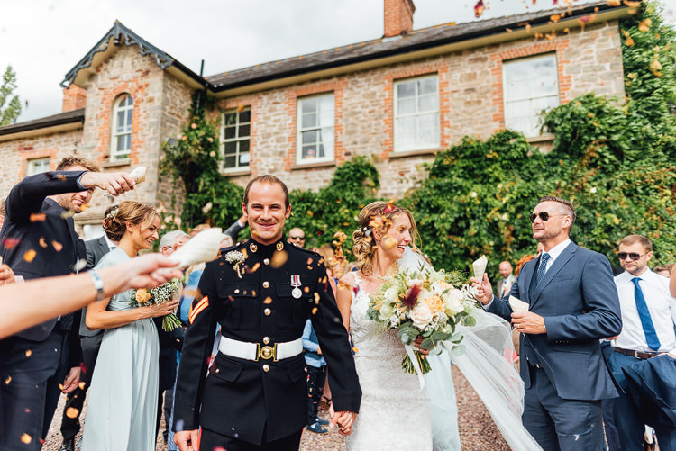 Bride Bridal Fishtail Train Strappy Veil Military Groom Confetti Shot Petals Real Outdoor Summer Rustic Barn Wedding https://www.chebirchhayesphotography.com/