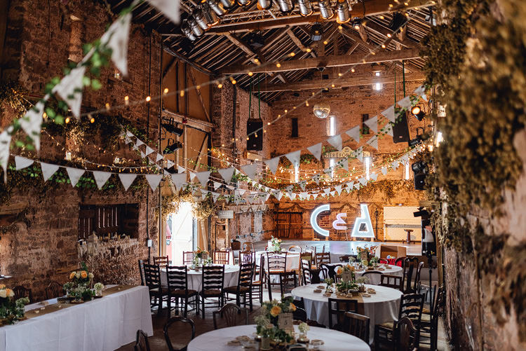 Reception Bunting Fairylights Light Up Letter Barn Outdoor Summer Rustic Barn Wedding https://www.chebirchhayesphotography.com/