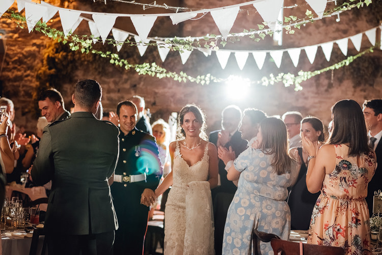 Bride Bridal Fishtail Train Strappy Veil Military Groom Reception Bunting Outdoor Summer Rustic Barn Wedding https://www.chebirchhayesphotography.com/