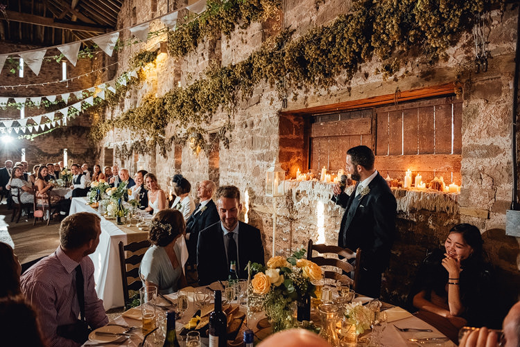 Hops Bunting Reception Candlelit Outdoor Summer Rustic Barn Wedding https://www.chebirchhayesphotography.com/