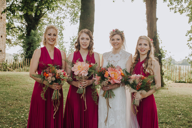 Red Multiway Bridesmaid Dresses Orange Country Barn Wedding http://www.meganduffield.com/