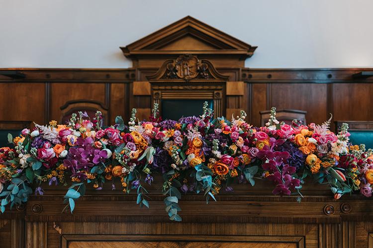 Floral Garland Runner Multicolour Foliage Modern Artistic Colour Pop City Wedding http://missgen.com/