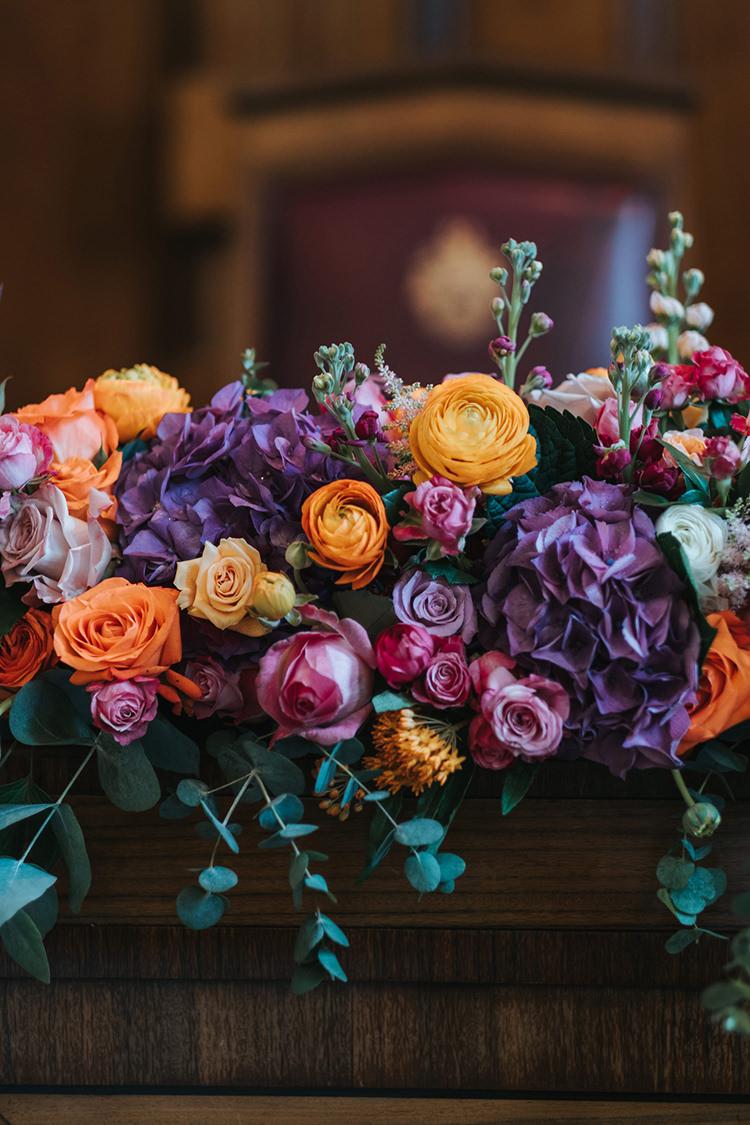 Flower Floral Garland Runner Orange Rose Purple Stocks Foliage Modern Artistic Colour Pop City Wedding http://missgen.com/