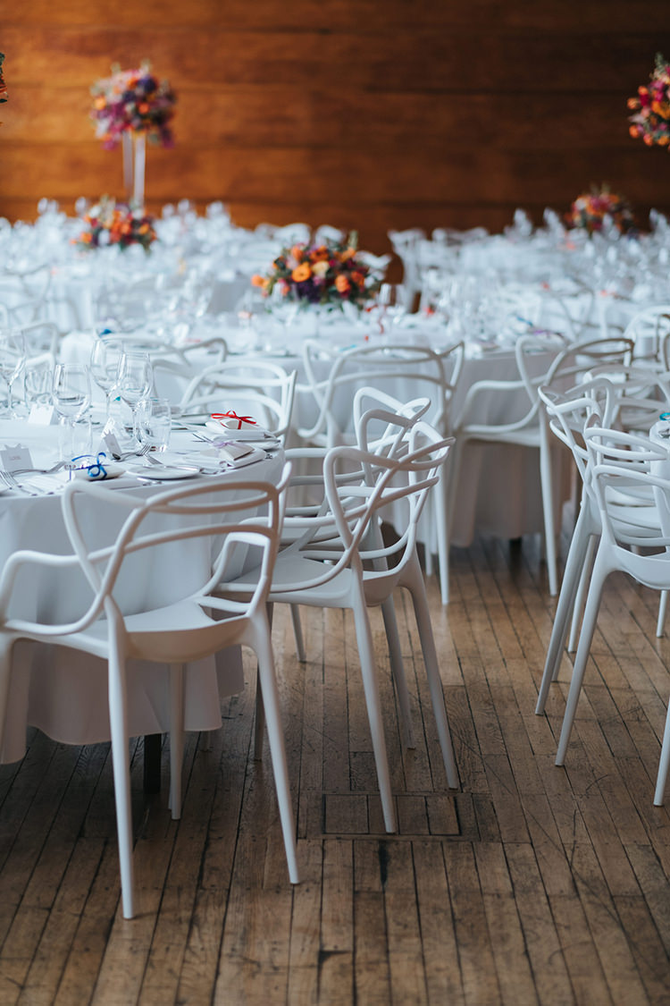 All White Table and Chairs Town Hall Hotel Multicolour Flowers Colourful Modern Artistic Colour Pop City Wedding http://missgen.com/