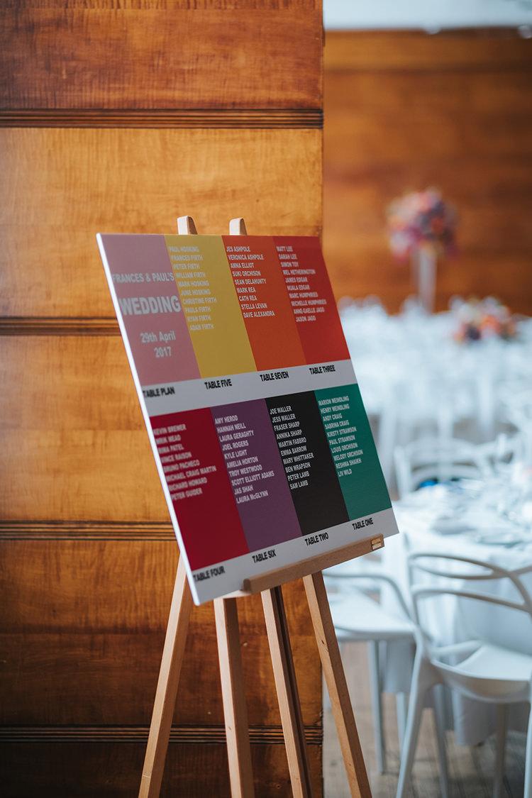 Pantone Seating Chart Table Plan Easel Modern Artistic Colour Pop City Wedding http://missgen.com/