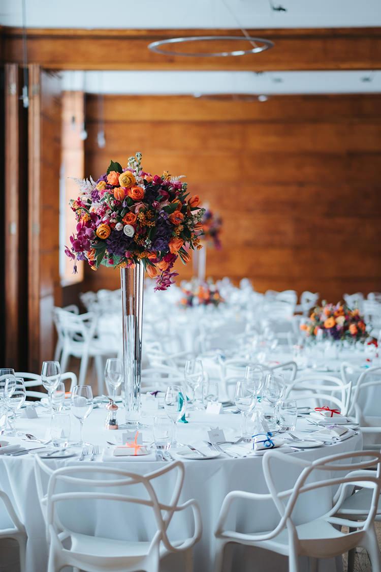 Tall Table Centre Floral Flower Multicolour Colourful Pedestal Glass Modern Artistic Colour Pop City Wedding http://missgen.com/