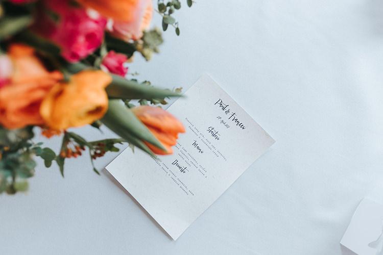 Menu Modern Calligraphy Modern Artistic Colour Pop City Wedding http://missgen.com/