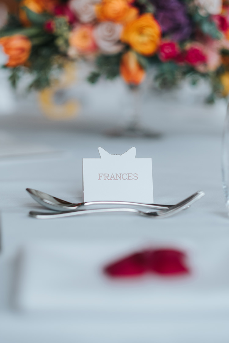 Place Card Name Tag Cut Out Modern Artistic Colour Pop City Wedding http://missgen.com/