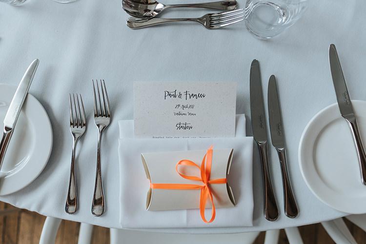 Table Setting Menu Modern Calligraphy Favour Box Orange Ribbon Modern Artistic Colour Pop City Wedding http://missgen.com/