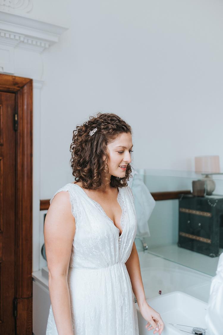 Bride Bridal Dress Gown V Neck Charlie Brear Lace Overlay Modern Artistic Colour Pop City Wedding http://missgen.com/
