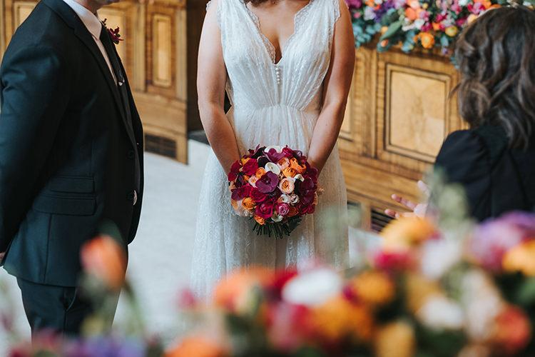 Bride Bridal Dress Gown V Neck Charlie Brear Lace Overlay Bouquet Modern Artistic Colour Pop City Wedding http://missgen.com/