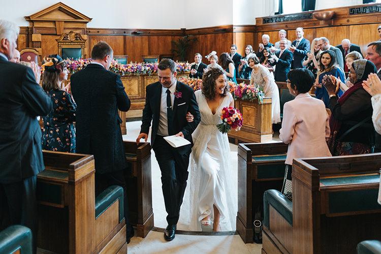 Bride Bridal Dress Gown V Neck Charlie Brear Lace Overlay Black Suit Tie Pocket Square Modern Artistic Colour Pop City Wedding http://missgen.com/