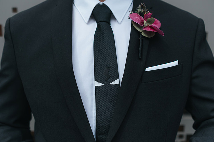 Black Suit Groom Pocket Square Fendi Tie Modern Artistic Colour Pop City Wedding http://missgen.com/