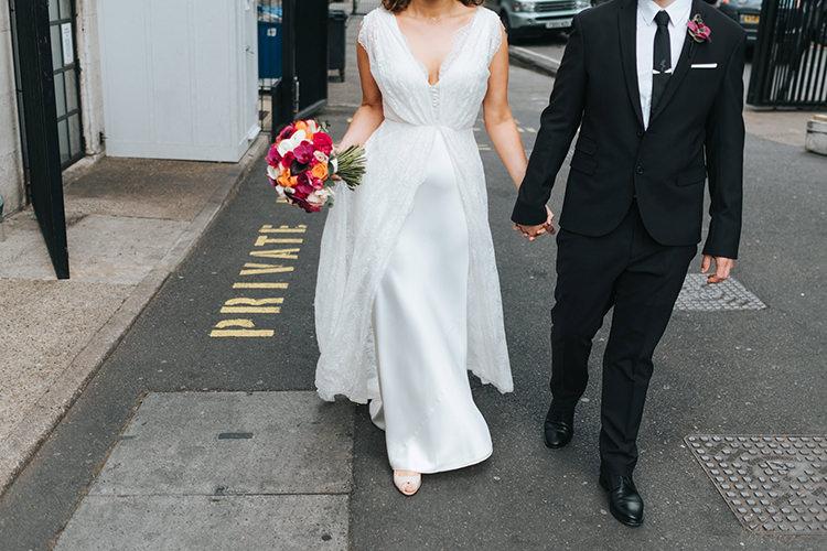 Bride Bridal Dress Gown V Neck Charlie Brear Lace Overlay Black Suit Tie Groom Pocket Square Modern Artistic Colour Pop City Wedding http://missgen.com/