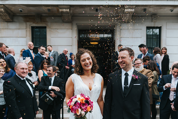 Bride Bridal Dress Gown V Neck Charlie Brear Lace Overlay Black Suit Tie Pocket Square Groom Confetti Modern Artistic Colour Pop City Wedding http://missgen.com/
