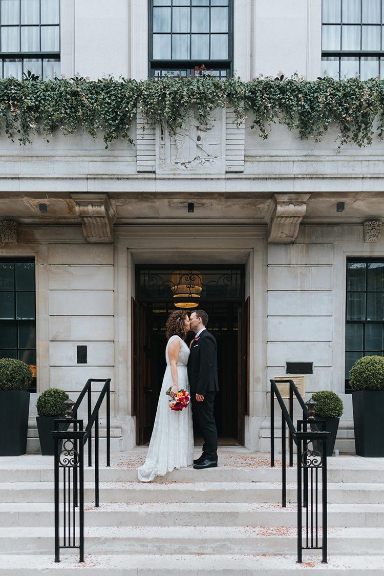 Bride Bridal Dress Gown V Neck Charlie Brear Lace Overlay Black Suit Tie Pocket Square Groom Modern Artistic Colour Pop City Wedding http://missgen.com/