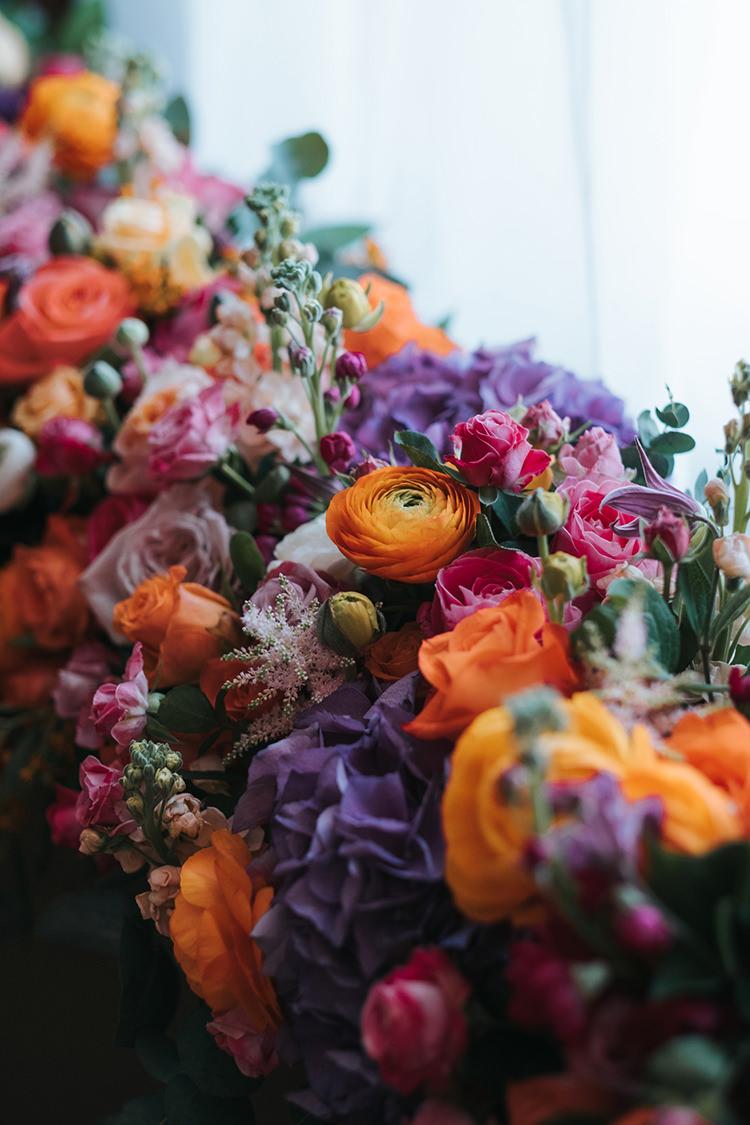 Multicolour Colourful Flowers Floral Purple Orange Pink Blush Rose Peony Modern Artistic Colour Pop City Wedding http://missgen.com/