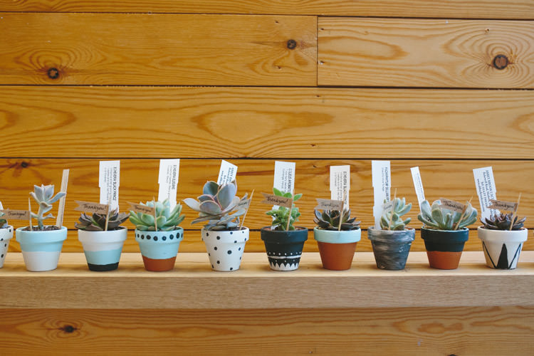 Potted Succulent Favours Happy DIY Woodland Wedding http://www.elliegracephotography.co.uk/