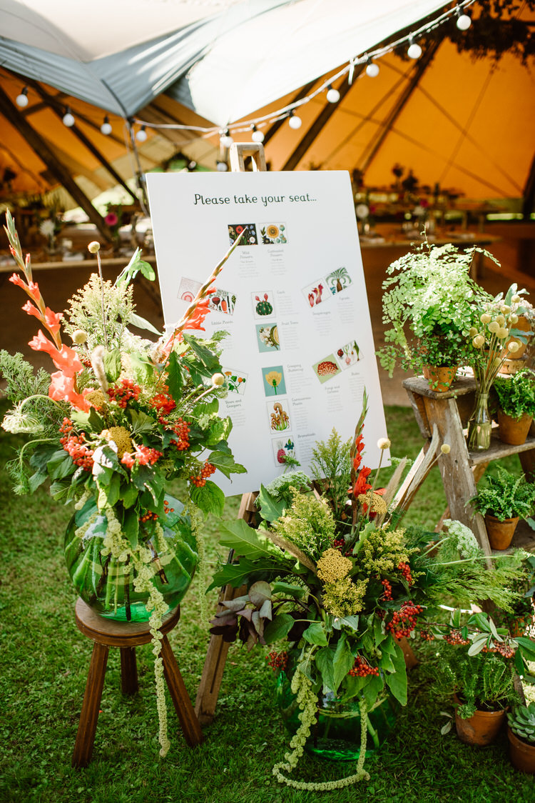 Seating Plan Table Chart Flowers Ladder Vegan Handfasting Summer Garden Party Wedding https://www.elliegillard.co.uk/