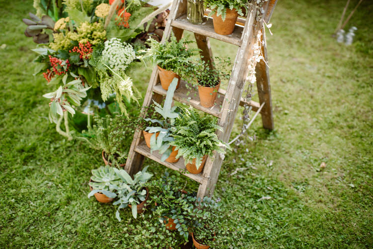 Ladder Flowers Pots Vegan Handfasting Summer Garden Party Wedding https://www.elliegillard.co.uk/