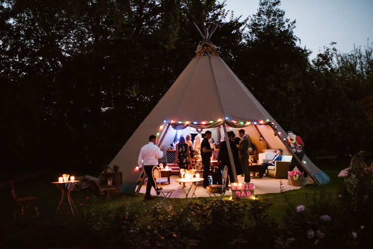Tipi Lights Evening Vegan Handfasting Summer Garden Party Wedding https://www.elliegillard.co.uk/