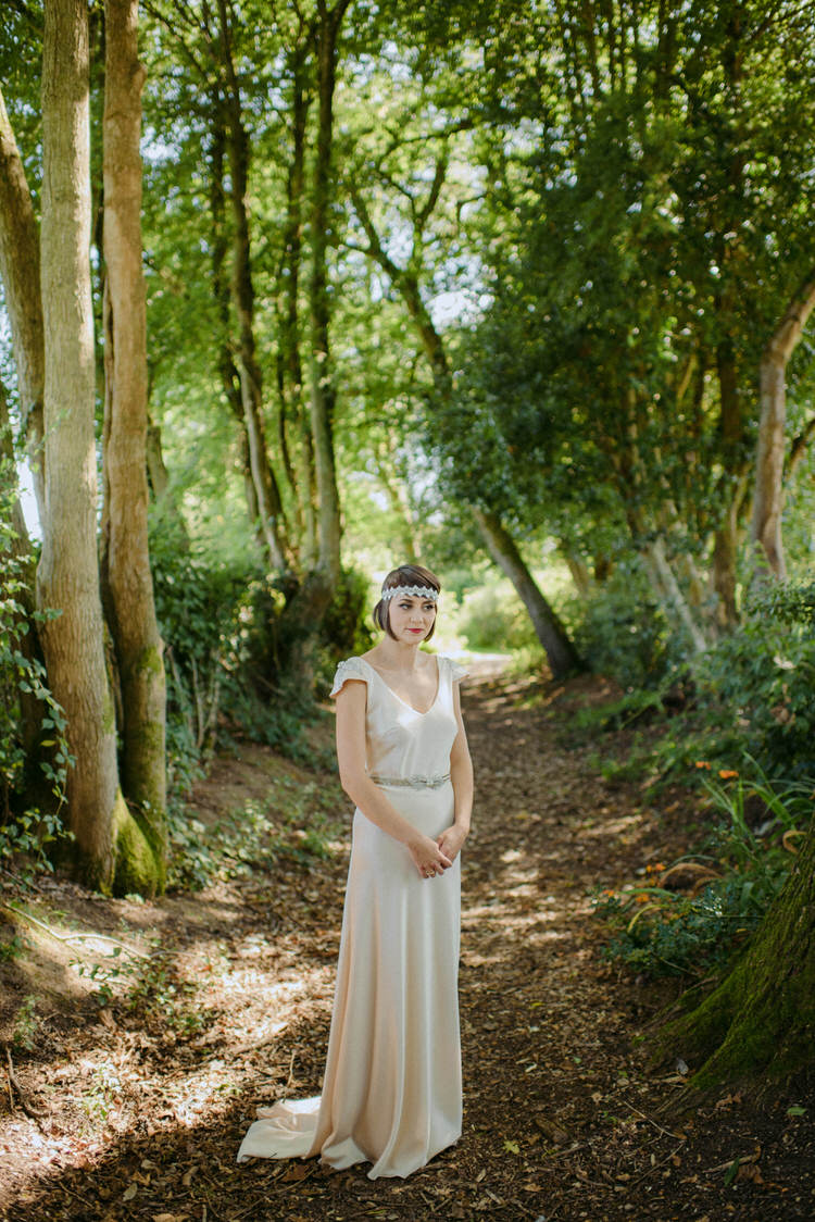 1920s Vintage Dress Gown Bride Bridal Silk Kate Beaumont Vegan Handfasting Summer Garden Party Wedding https://www.elliegillard.co.uk/
