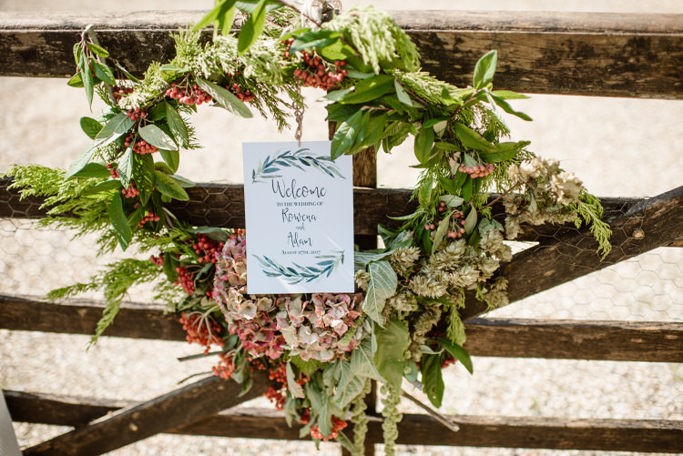 Flower Wreath Welcome Sign Gate Vegan Handfasting Summer Garden Party Wedding https://www.elliegillard.co.uk/