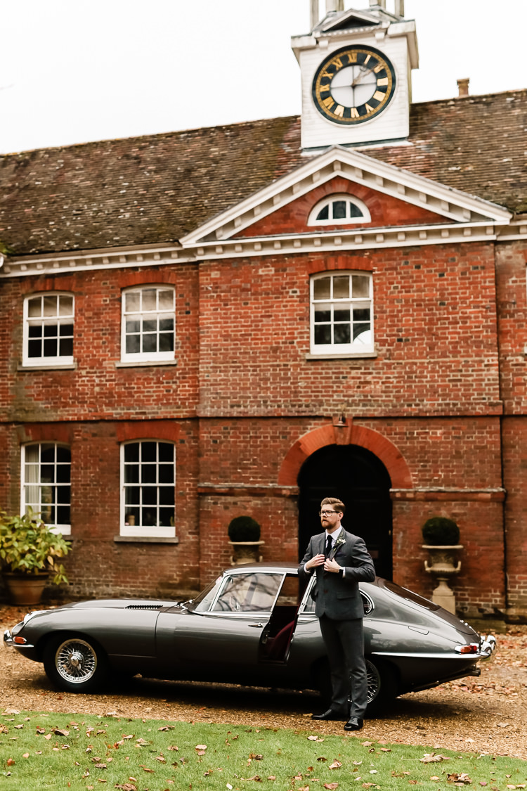 Groom Grey Tweed Suit Classic Car Magical Fairy Lit Blue Gold Winter Wedding Ideas https://sarahbrookesphotography.com/
