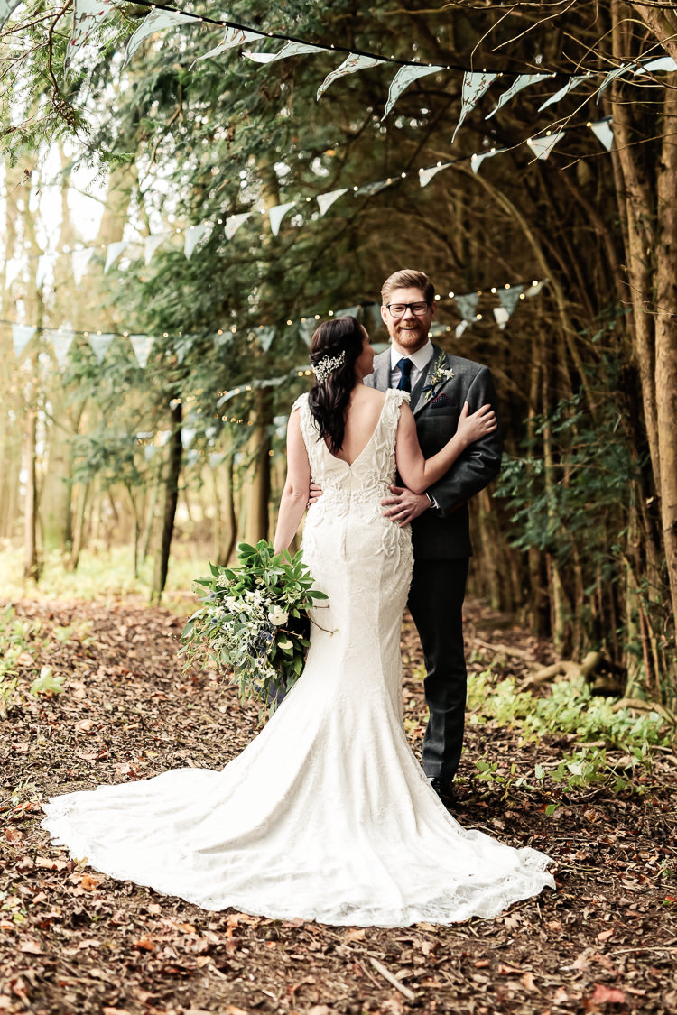 Justin Alexander Lace Dress Gown Bride Bridal Train Magical Fairy Lit Blue Gold Winter Wedding Ideas https://sarahbrookesphotography.com/
