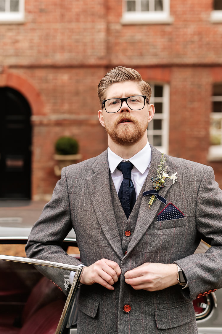 Groom Grey Tweed Suit Magical Fairy Lit Blue Gold Winter Wedding Ideas https://sarahbrookesphotography.com/