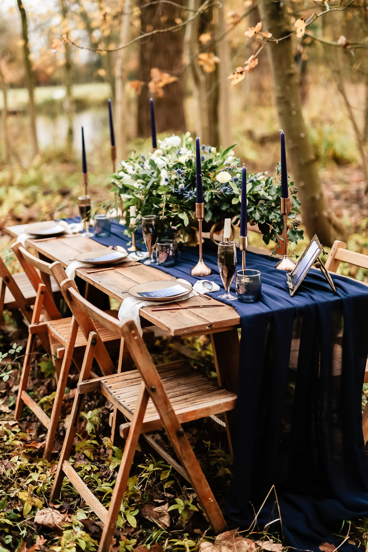 Tablescape Decoration Tables Fabric Rustic Candlesticks Flowers Magical Fairy Lit Blue Gold Winter Wedding Ideas https://sarahbrookesphotography.com/